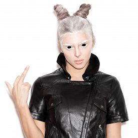 picture of middle finger  - A scary evil woman with black eyes showing middle finger for a fear or Halloween concept - JPG