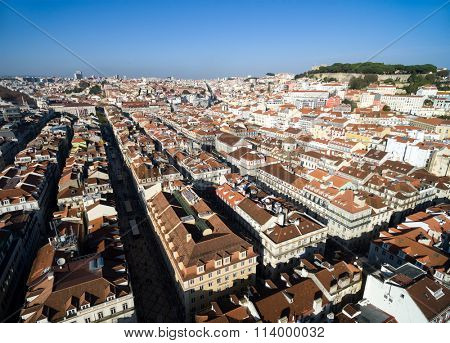 Aerial View of Baixa Chiado and Alfama, Lisbon, Portugal