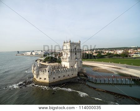 Aerial view of Belem tower, in Lisbon, Portugal