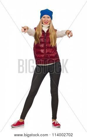Blond hair girl in bordo vest isolated on white