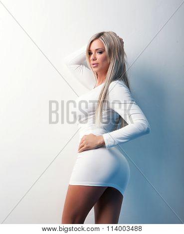 Portrait Of  Sexy Beauty Girl In White Dress