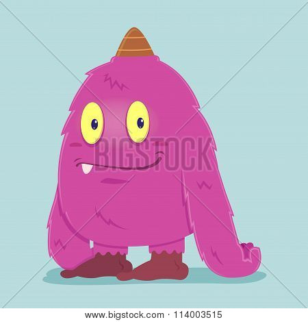 Cute Funny Hairy Pink Monster