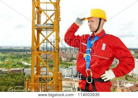 worker joiner at building site