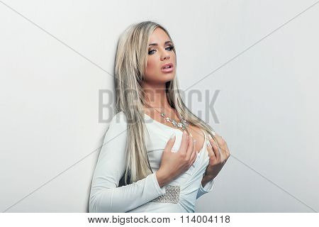 Portrait Of  Sexy Beauty Woman In White Dress