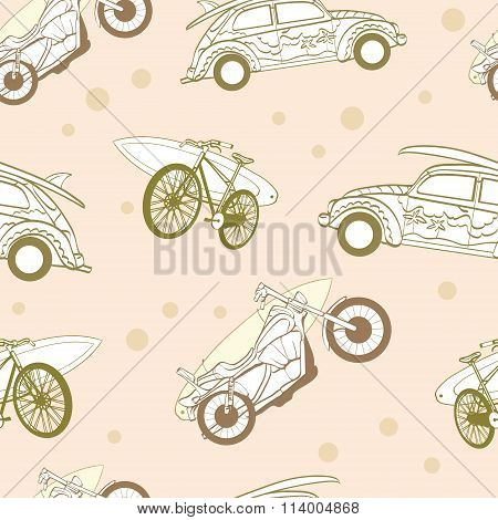 Vector Light Brown Surfboards Transported On Vehicles Cars Bicycles Motorcycles Seamless Pattern Bik