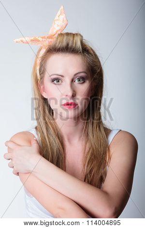 Pin Up Blonde Fashion Girl Retro Styling