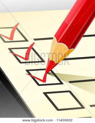 Pencil Write Tick On Document