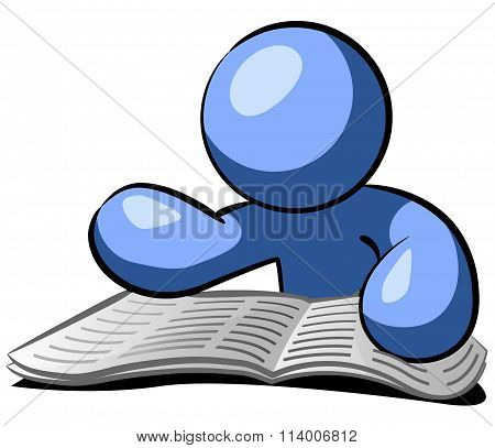Blue Man Reading Newspaper