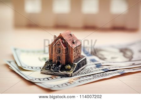 Real Estate Business Concept. Dollar Banknote With House