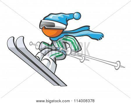 Orange Man Skiing