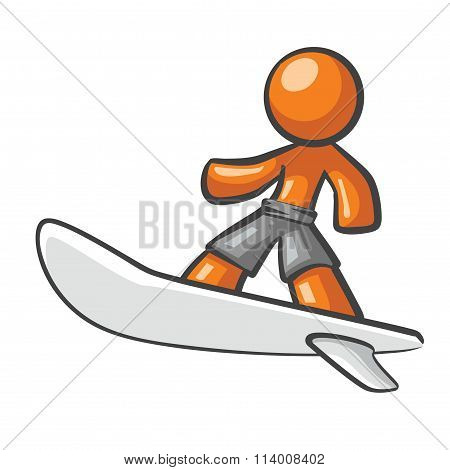 Orange Man Surfing On A Surf Board.