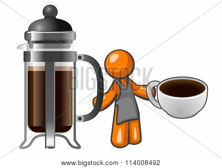 Orange Man With French Press And Coffee Cup