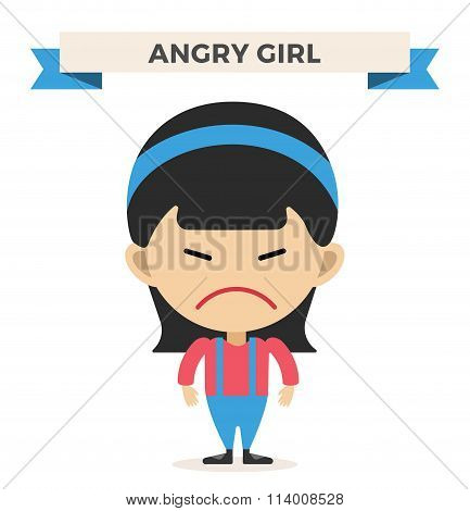 Little cartoon angry girl vector illustration