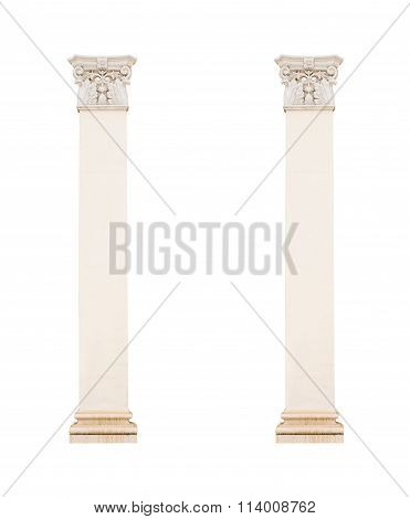 White Architectural Columns Isolated On White Background