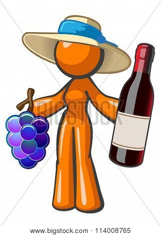 Orange Lady With Vintage Wine Grapes And Hat