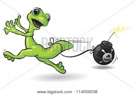 Gecko Running From Bomb