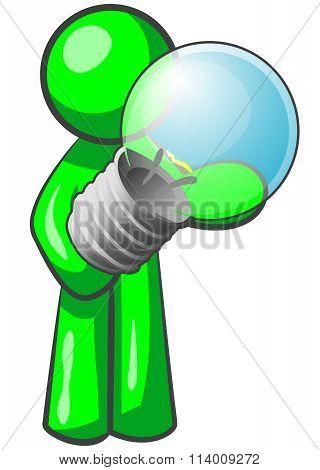 Green Man Holding Light Bulb
