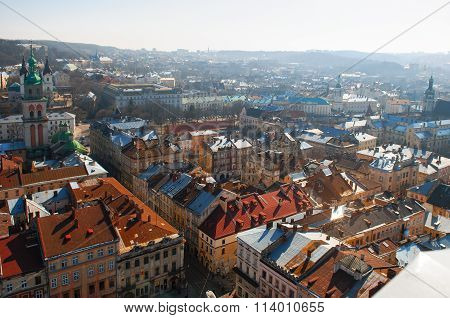 Lviv, Ukraine, March 23, 2010: Lviv Panoramic Bird's-eye View Of From Of The City Centre In Ukraine