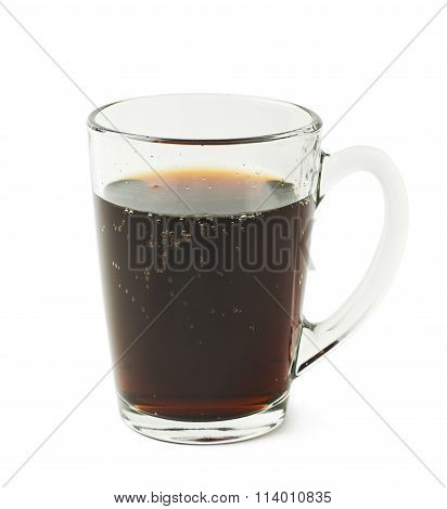 Glass mug filled with cola drink isolated