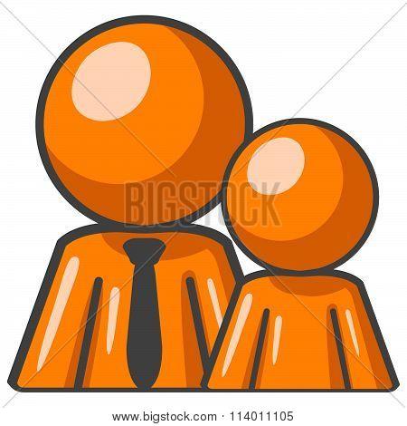 Orange Man And Child