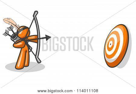 Orange Man Aiming At Target