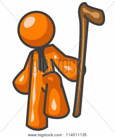 Orange Man Holding Walking Stick