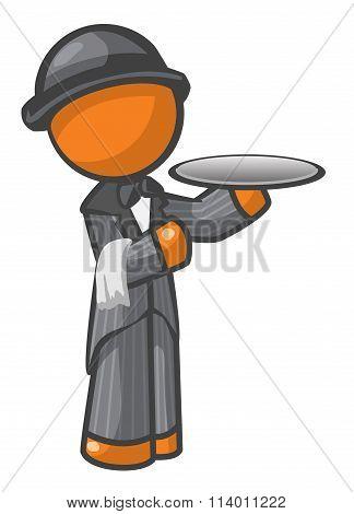 Orange Man Butler With Hat