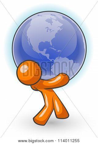 Orange Man Carrying Globe
