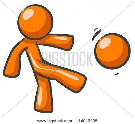 Orange Man Kicking Ball