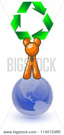 Orange Man Recycle Earth