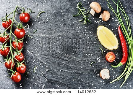 Frame With Fresh Organic Vegetables And Herbs. Healthy Eating And Cooking Concept