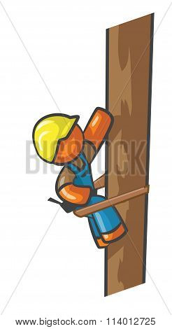 Orange Man Electrician Climbing Telephone Pole