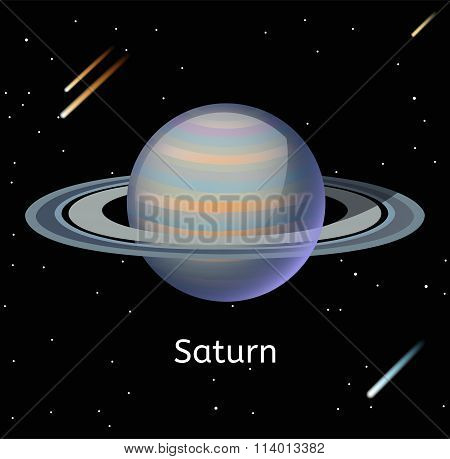 Saturn planet 3d vector illustration