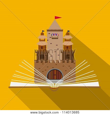 Illustration Of A Fairy-tale Castle Of An Open Book In The Flat Design