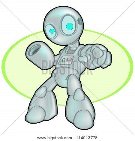Metallic Robot Pointing At Viewer