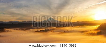 Sunrise Over Mt Hood Panorama