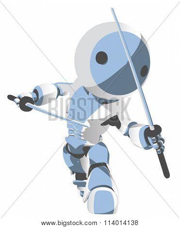 Blue Toon Robot Ninja With Katanas