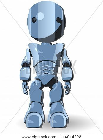 Blue Glossy Robot Standing Forward