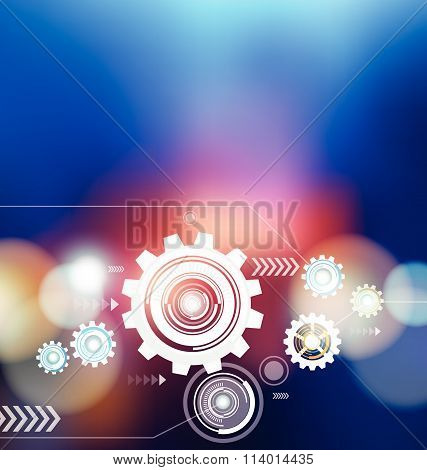 Abstract Digital Cogs Wheels Background Vector Design