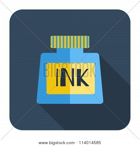 Icons Bottle Of Ink, A Long Shadow, Flat Design