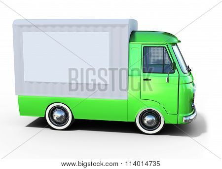 3D Green Vintage Van