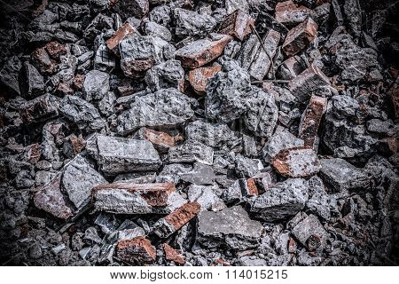 Background Of Brick Rubble Debris