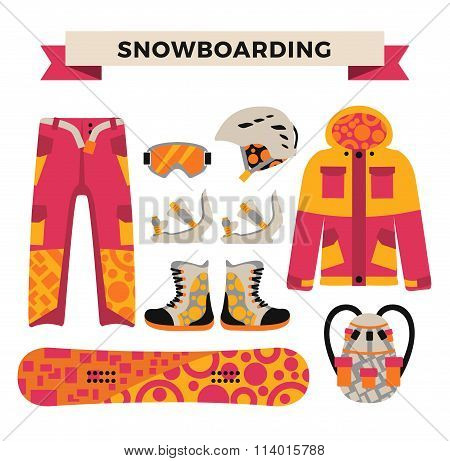 Snowboard sport clothes and tools elements