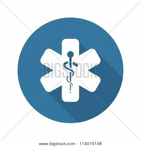 Star of Life Icon. Flat Design.