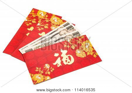 Red Packet With Good Fortune Character Contains Japanese Yen Currency