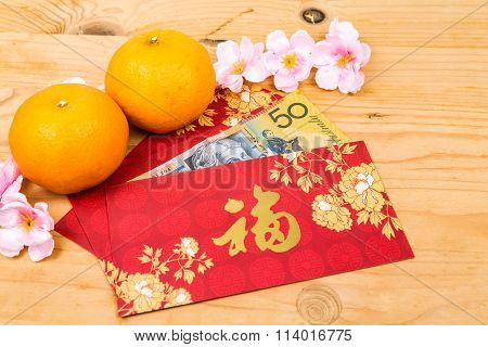 Red Packet With Good Fortune Character Contains Australian Dollar  Currency