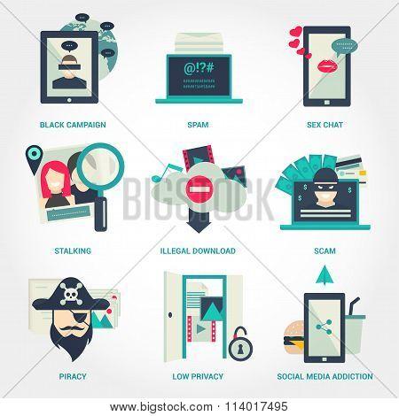 Popular internet activity flat icon