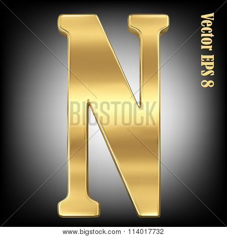 Vector letter N from gold solid alphabet. Eps 8 using mesh.