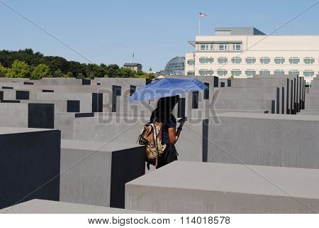 Jewish monument in Berlin with concrete blocks