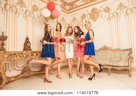Attractive Young Ladies Celebrating Birthday Party